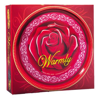 Bánh hỗn hợp hộp thiếc Warmly Hoa Hồng Đỏ 350 gam