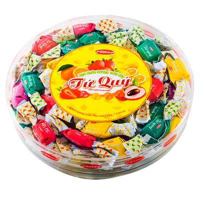Kẹo cứng Tứ Quý hộp nhựa tròn 112 gam