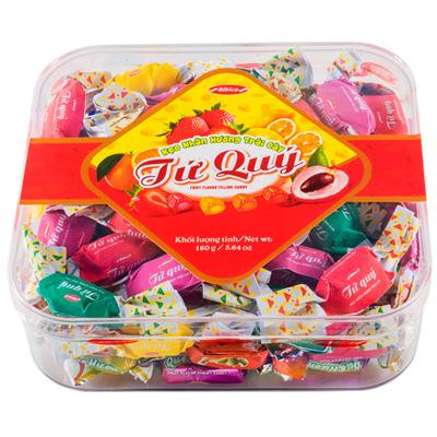 Kẹo cứng Tứ Quý hộp nhựa vuông 160 gam