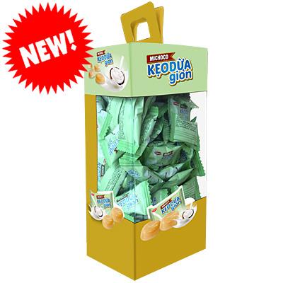 Kẹo Michoco Dừa Giòn hộp giấy Vuông 300 gam