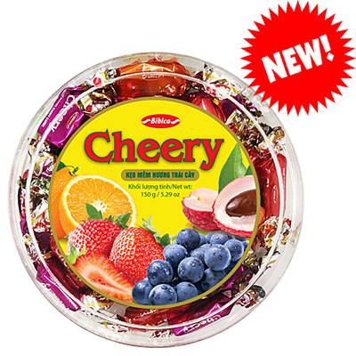 Kẹo mềm Cheery hộp nhựa Tròn 150 gam