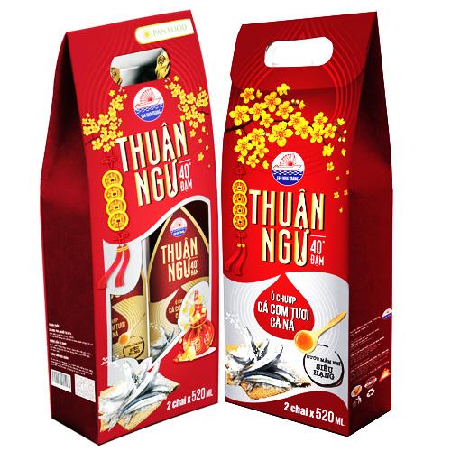 Nước mắm Thuận Ngư 40 độ đạm 520ml túi quà